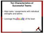 ten characteristics of successful teams10