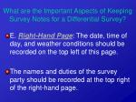 what are the important aspects of keeping survey notes for a differential survey21
