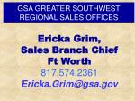 gsa greater southwest regional sales offices