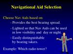 navigational aid selection