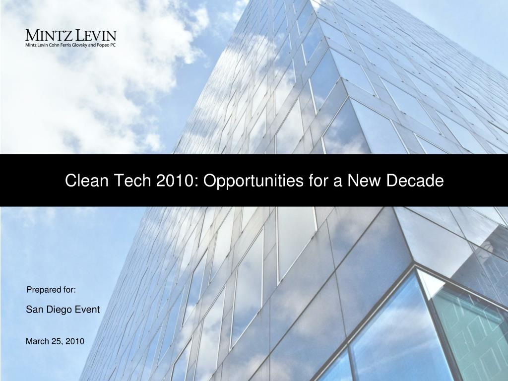clean tech 2010 opportunities for a new decade l.