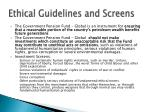 ethical guidelines and screens
