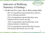 indicators of wellbeing summary of findings