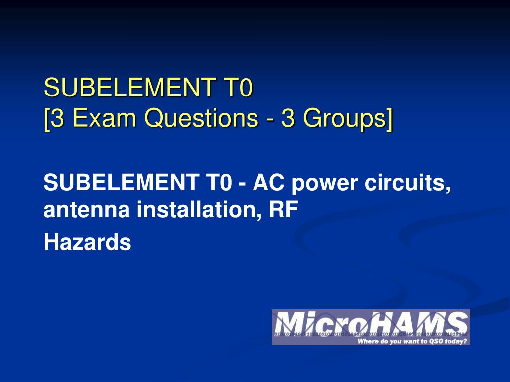 subelement t0 3 exam questions 3 groups l.