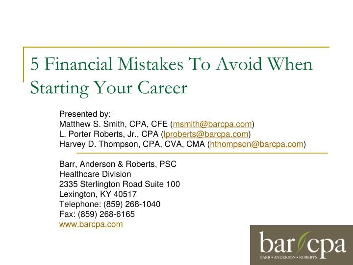 5 financial mistakes to avoid when starting your career n.