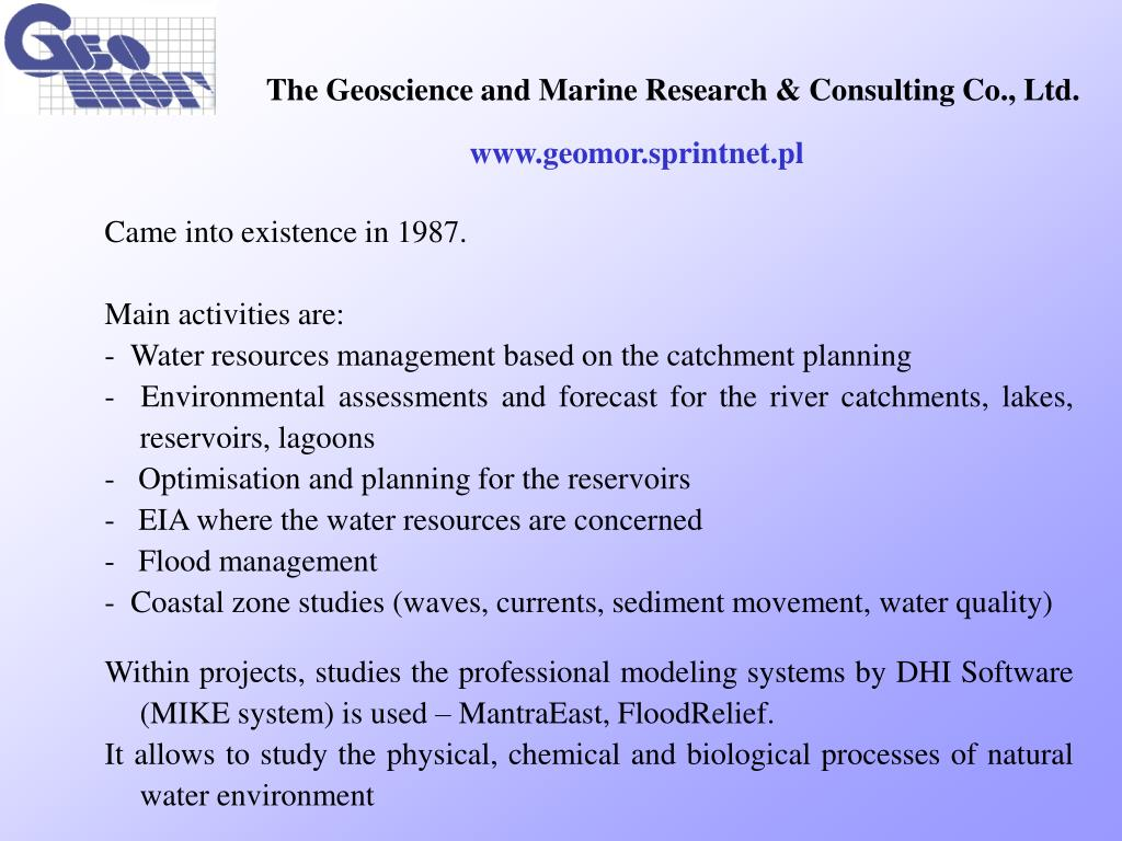 the geoscience and mari ne research consulting co ltd l.