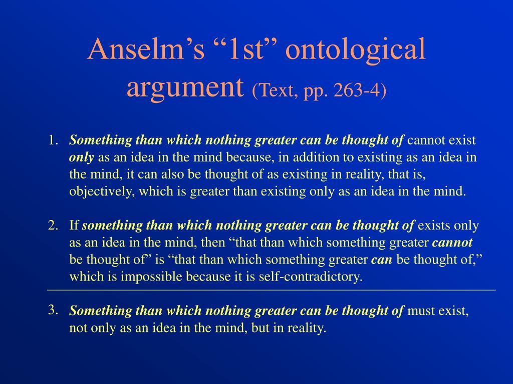 "Anselm's ""1st"" ontological argument"