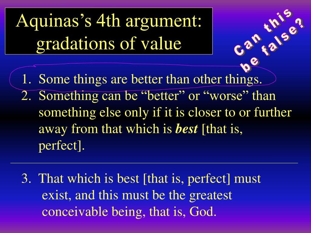 Aquinas's 4th argument: