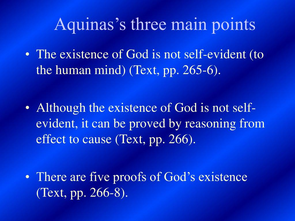 Aquinas's three main points