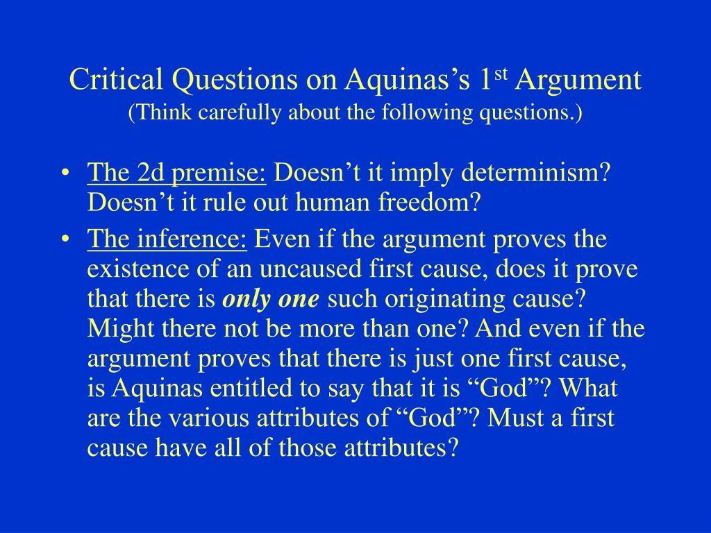 Critical Questions on Aquinas's 1