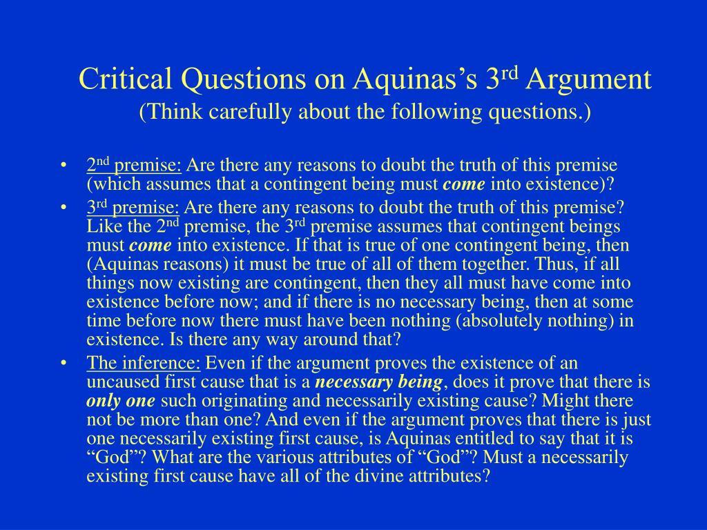 Critical Questions on Aquinas's 3