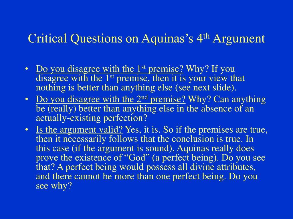Critical Questions on Aquinas's 4