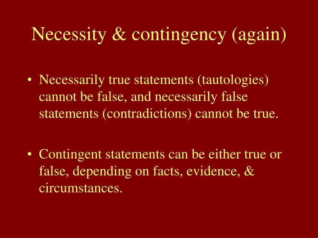 Necessity & contingency (again)