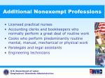 additional nonexempt professions