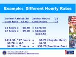 example different hourly rates