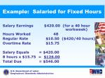 example salaried for fixed hours