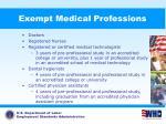 exempt medical professions