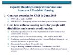 capacity building to improve services and access to affordable housing