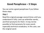 good paraphrase 5 steps