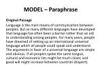 model paraphrase