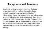 paraphrase and summary