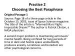 practice 2 choosing the best paraphrase
