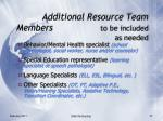 additional resource team members to be included as needed