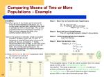 comparing means of two or more populations example