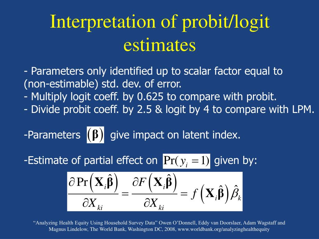 Interpretation of probit/logit estimates