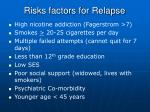 risks factors for relapse