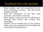 feedback from ldc teachers