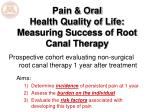 pain oral health quality of life measuring success of root canal therapy