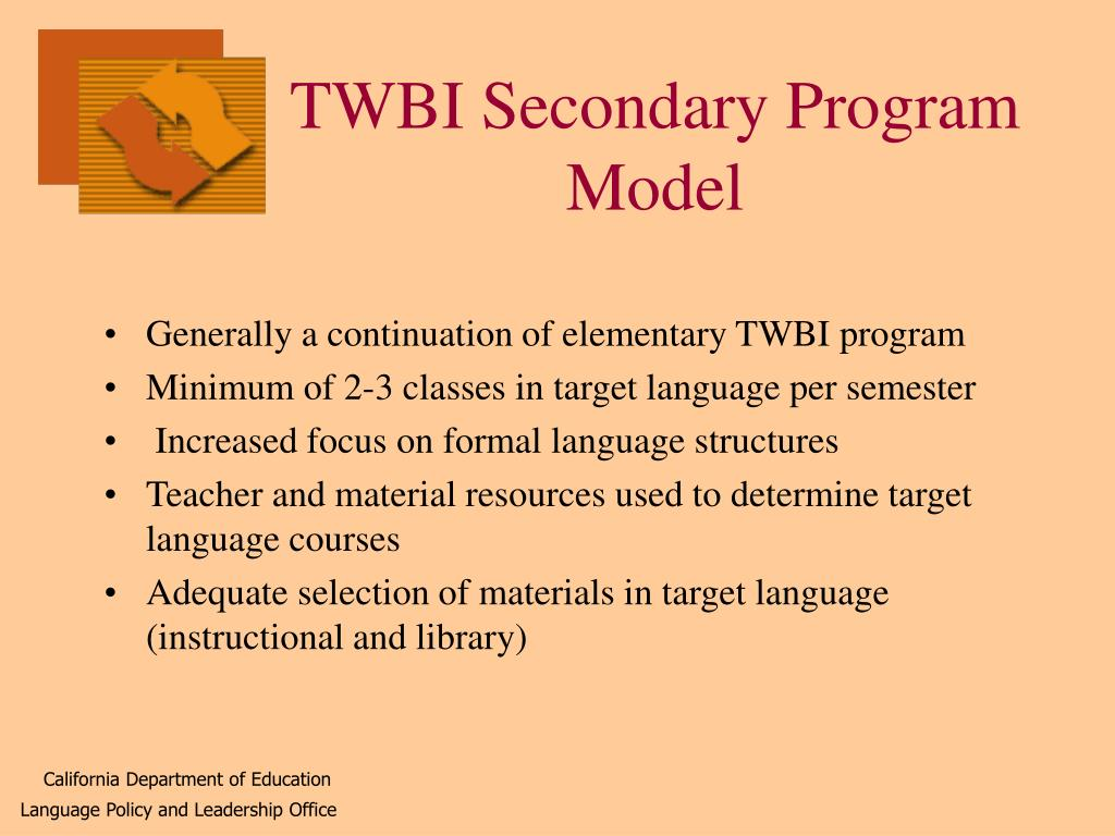 TWBI Secondary Program Model