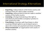 international strategy alternatives