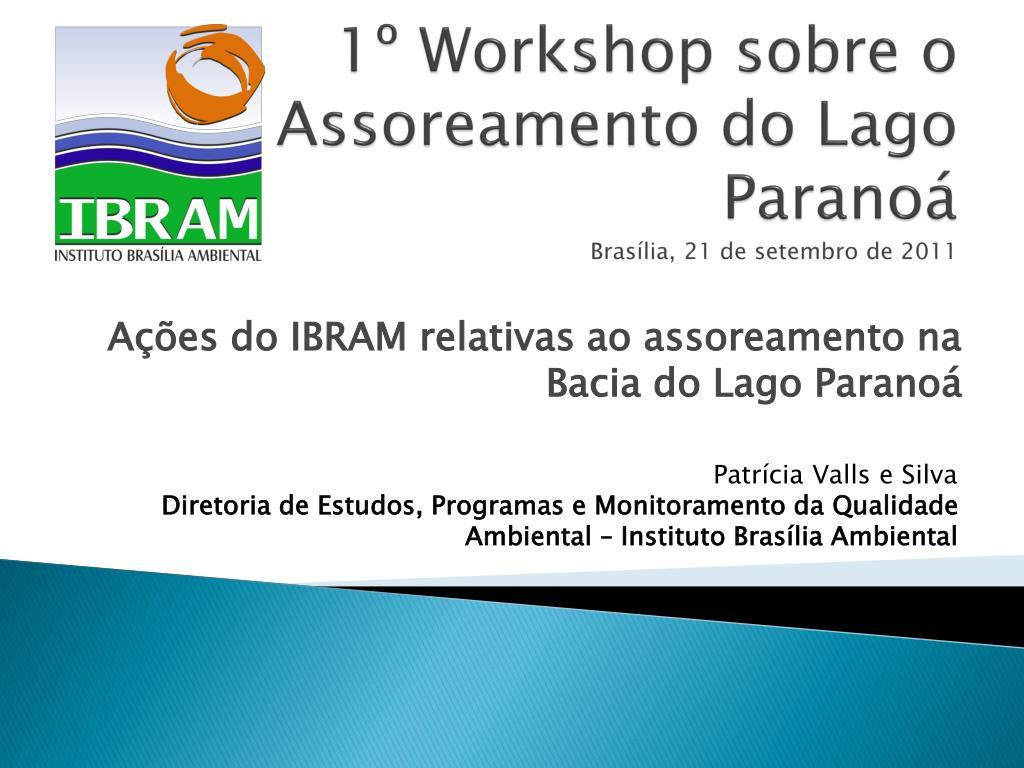 1 workshop sobre o assoreamento do lago parano bras lia 21 de setembro de 2011 l.