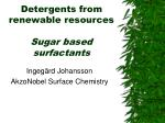 detergents from renewable resources sugar based surfactants