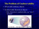 the problem of unobservability
