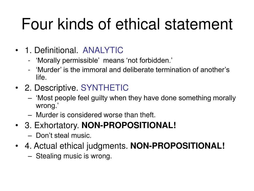 Four kinds of ethical statement