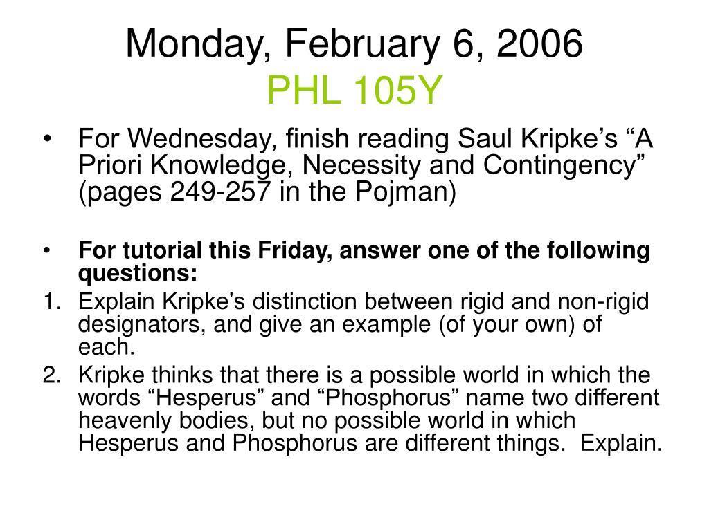 monday february 6 2006 phl 105y l.