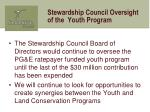 stewardship council oversight of the youth program