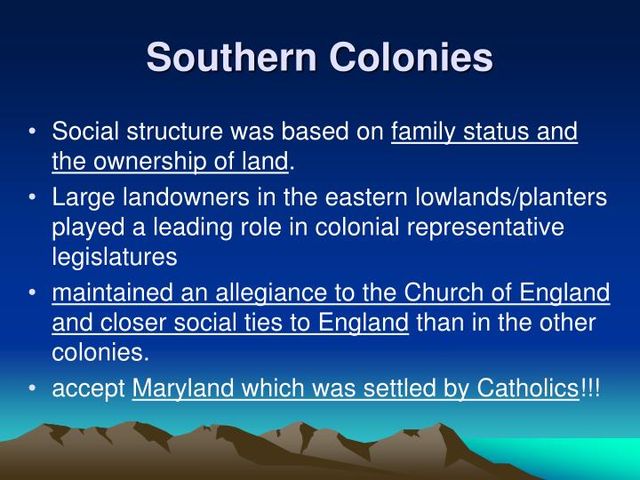 an analysis of new england and southern colonies in the 17th century The southern colonies in the 17th century john rolfe plants tobacco in virginia theme 1 west indies & new england.