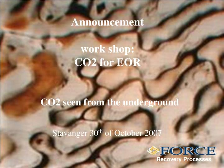 announcement work shop co2 for eor n.