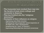 how has humanism affected religion in america