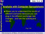 analysis with computer spreadsheets