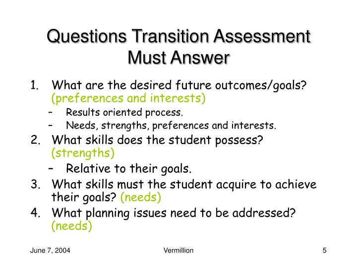 Questions Transition Assessment