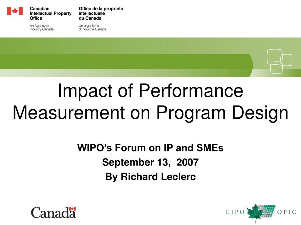 impact of performance measurement on program design l.