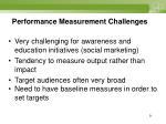 performance measurement challenges