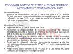 programa acceso de pymes a tecnologias de informacion y comunicaci n tics