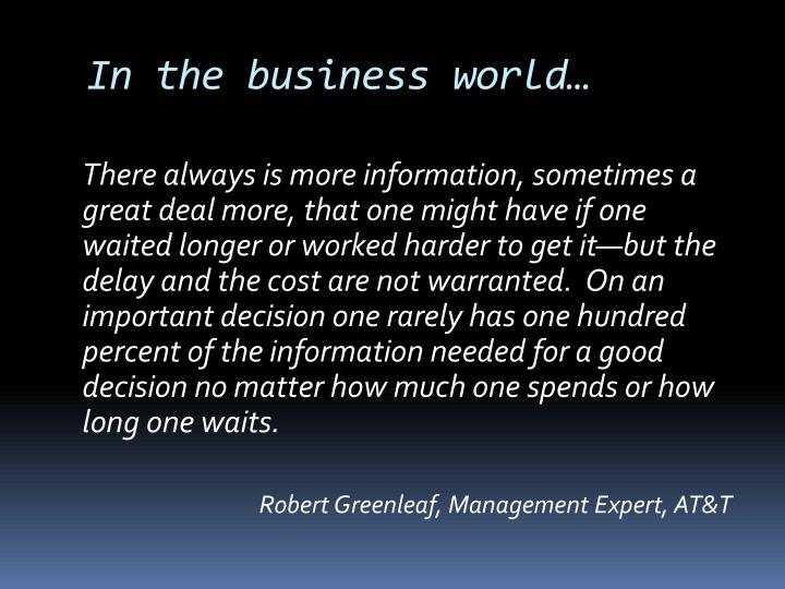 In the business world…