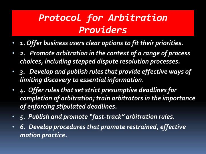 Protocol for Arbitration Providers